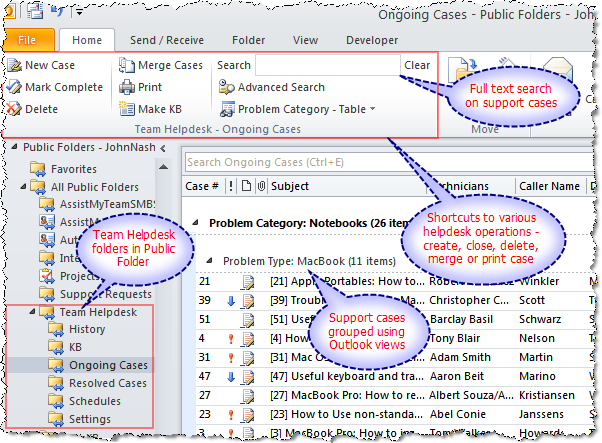 The Ongoing Cases Subfolder In Team Helpdesk System Outlook