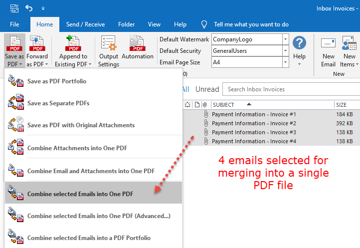 Combine emails into one PDF file