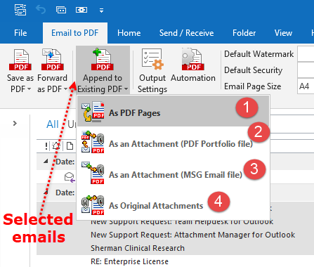 Append to PDF menu option in Outlook