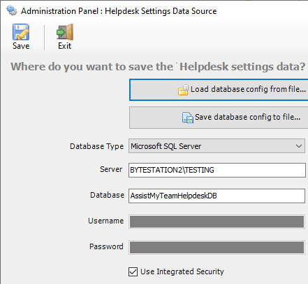 Database option available with Outlook helpdesk add-in