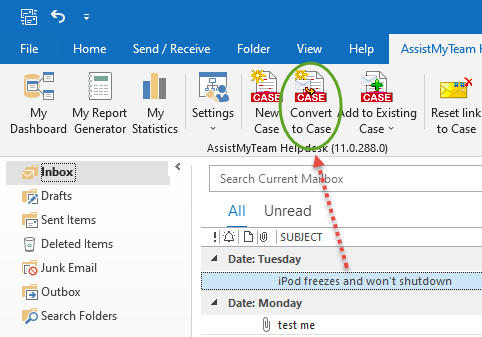 Convert an email to a Case using Outlook Helpdesk add-in