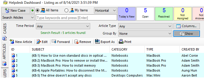 The knowledge base articles in Outlook Helpdesk