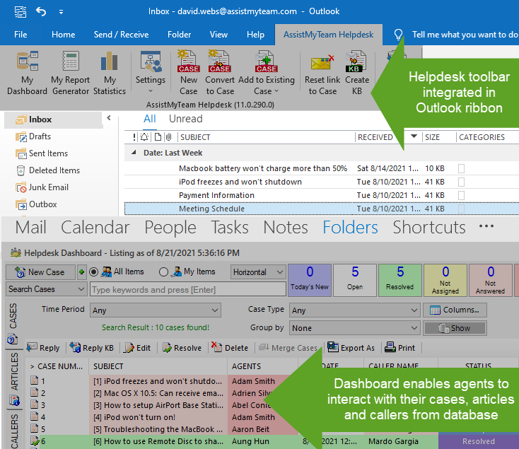 Email ticketing system inside your Outlook