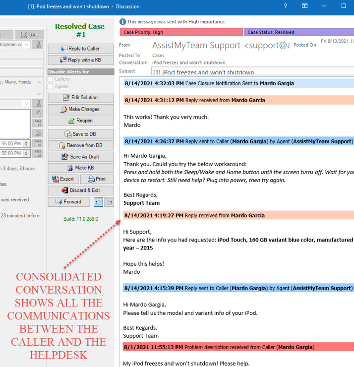 Consolidated Conversation of a case in Email ticketing system