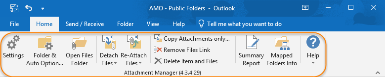 Attachment Manager add-in toolbar and ribbon in Outlook