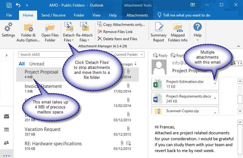 Screenshot showing how to detach attachments from selected emails in Inbox