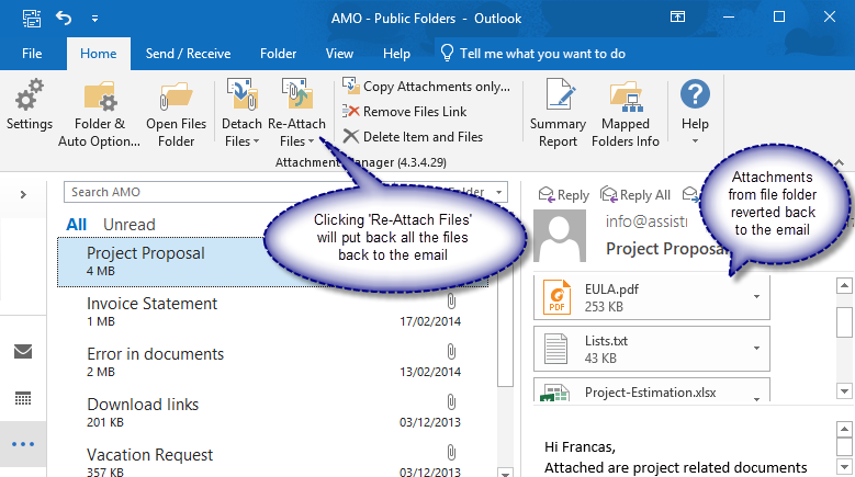 Re-attach attachment files back to the email in a click