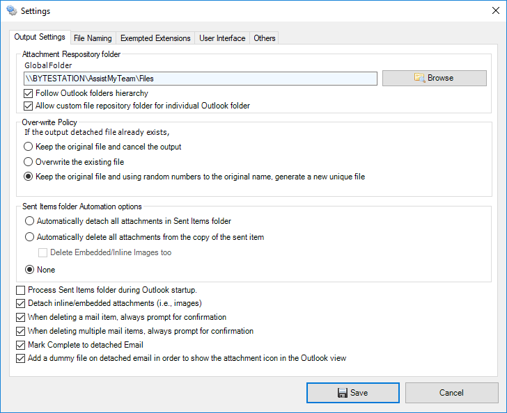 Attachment Manager add-in Settings panel