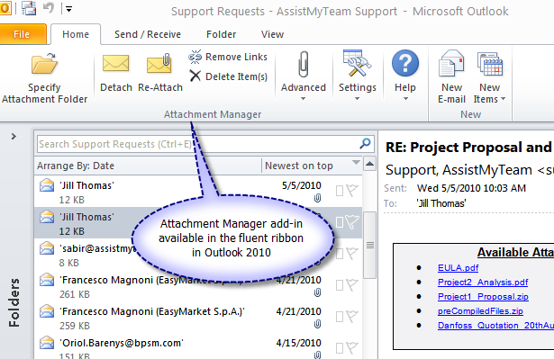 Attachment Manager add-in in Outlook 2010 fluent ribbon