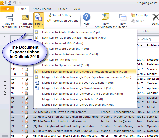 Click to view PDF/XPS Document Exporter for Outlook 5.3 screenshot