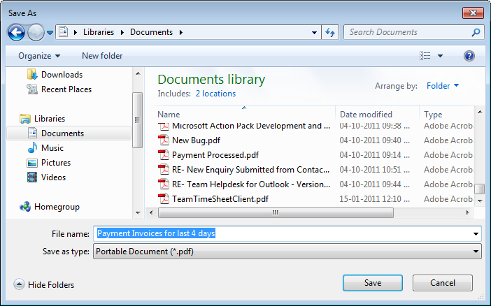 You will be prompted to specify a filename and the folder location to save the document.