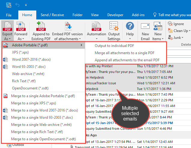 Email to PDF for Outlook