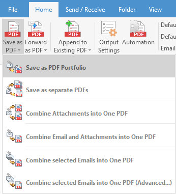 Screenshot of the Save As Pdf buttons to save email as Pdf from Outlook Inbox