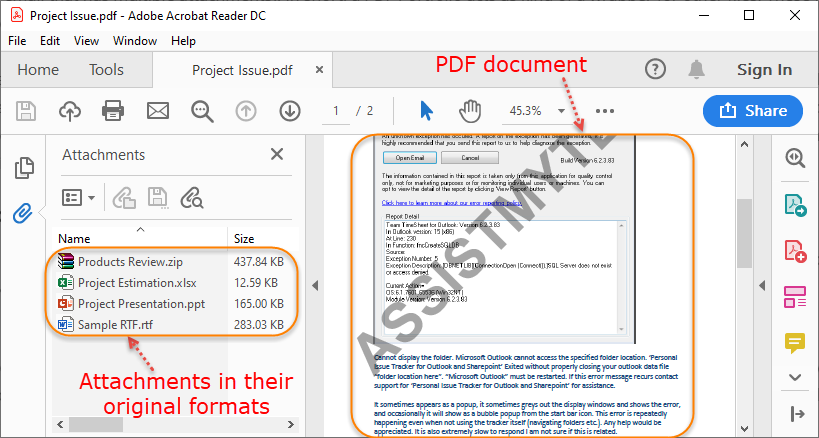 A structure of the pdf portfolio showing the attachments in their original formats