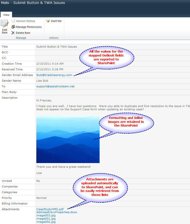 This is how the published item in SharePoint will look like