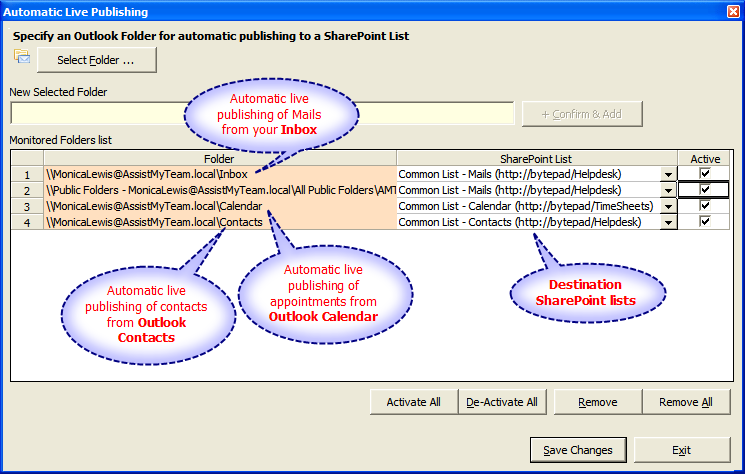 Automatically publish Outlook items to SharePoint