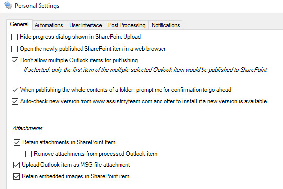 Settings panel to customize how emails are published from Outlook to SharePoint