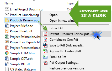 Convert file to PDF in just a click in Windows Explorer