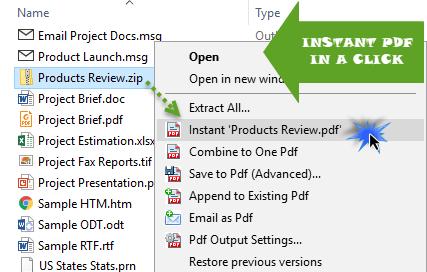 Convert file to PDF in just a click in Windows Explorer