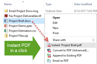 Instant PDF output from context menu in Windows Explorer