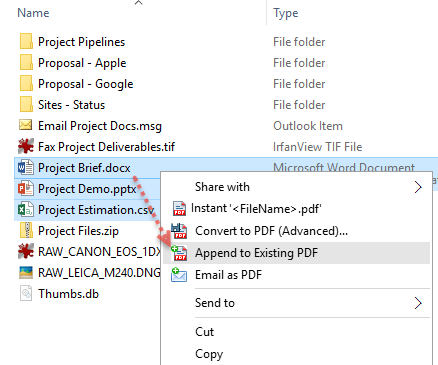 Append multiple documents to an existing PDF in just a click