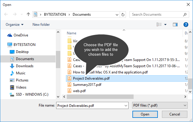 Open Dialog box to select an existing PDF file