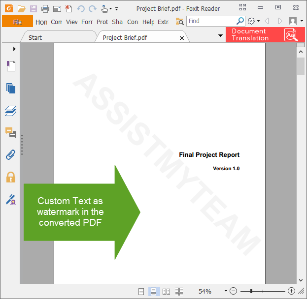 Watermarked content in PDF file converted from a word document