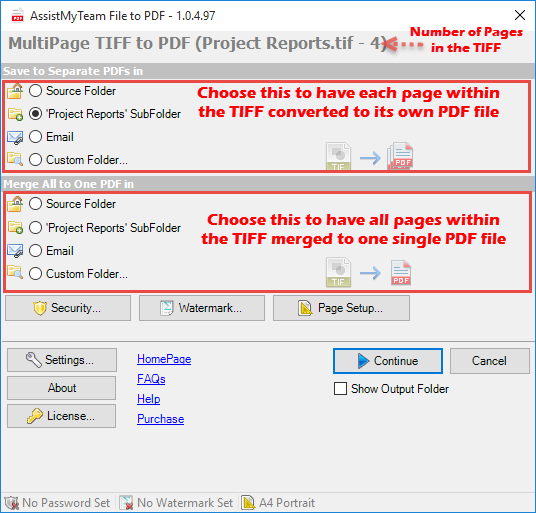 Create PDF from multi-page TIF