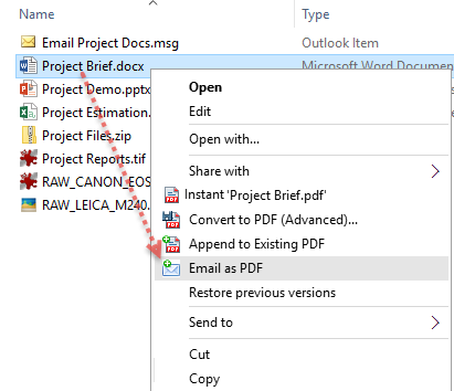 Embed chosen documents as PDF attachments in a new compose Email in Outlook