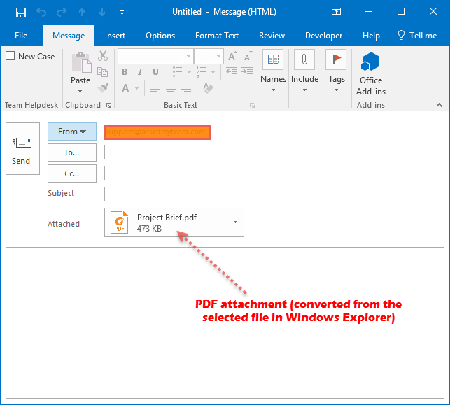 Converted PDF attachment being added to the compose email