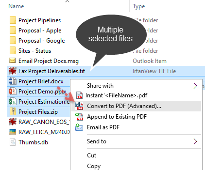 Save multiple files to PDF in Advanced Mode