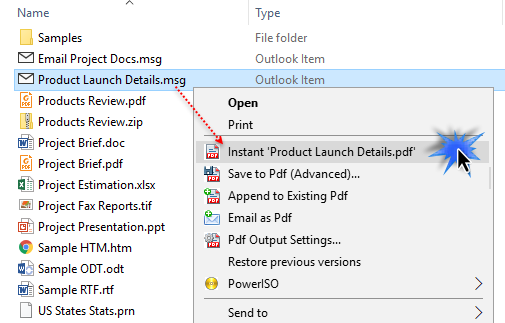 Convert instant PDF document from a MSG file in Windows Explorer