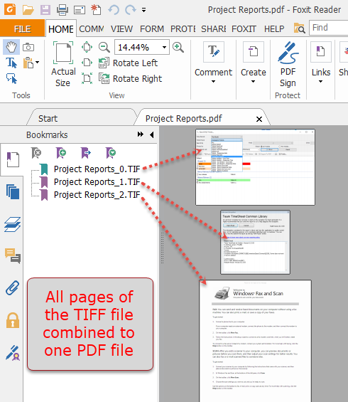 Structure of one PDF file after combining all the pages of the a TIFF image