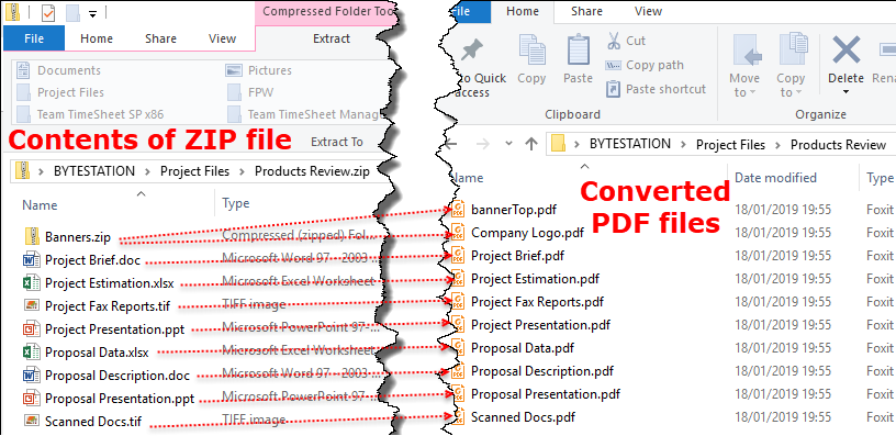 PDF files matched to the contents of a Zip file