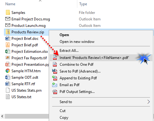 Convert ZIP to PDF files instantly in a click from Windows Explorer