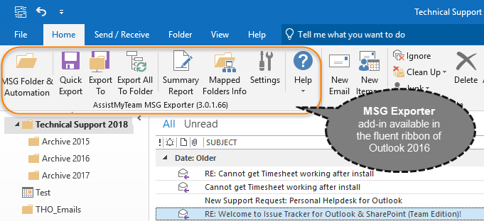 MSG Exporter toolbar in Outlook