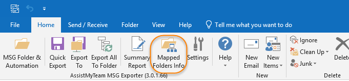 View the folders mapping associated with the Outlook email folders