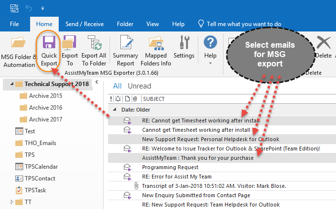 Quickly archive emails to file system with a click