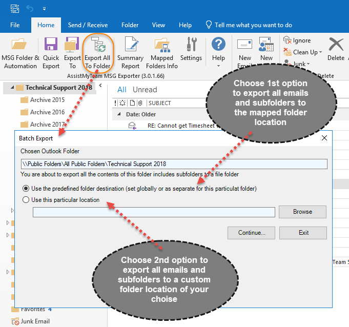 Archive all emails from an Outlook folder in a click