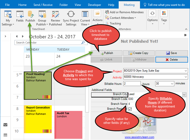 Personal TimeSheet for Outlook® - Reporting of Timesheet and Expense