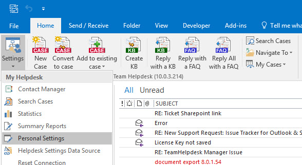 Outlook Helpdesk Agent add-in menu