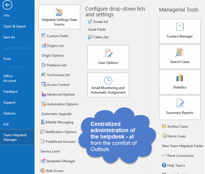 Outlook Helpdesk Administration panel