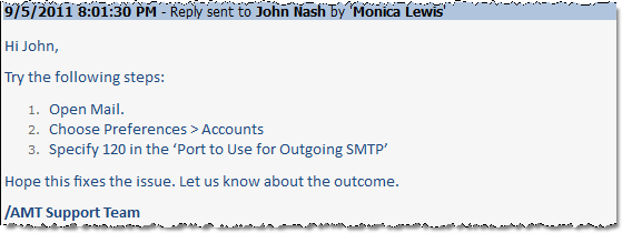 The snippet entry that is added to the problem description field when a new reply or response is processed by the SharePoint ticket system