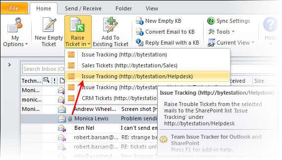 The SharePoint lists that are available for selection to store tickets raised from Outlook by the ticket system