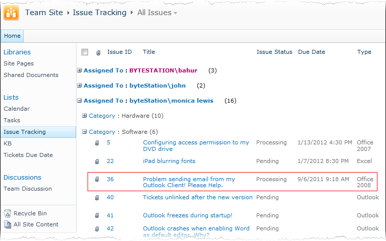 sharepoint issue tracking template - issue tracker for outlook sharepoint explore features