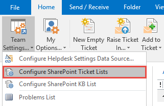 Toolbar options under Outlook for SharePoint ticket system