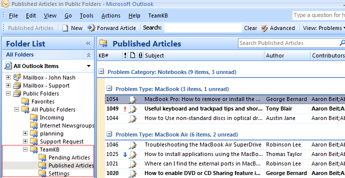 Click to view TeamKB for Outlook 3.0 screenshot