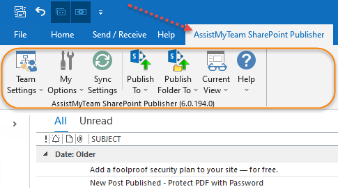 The Publisher toolbar in Outlook