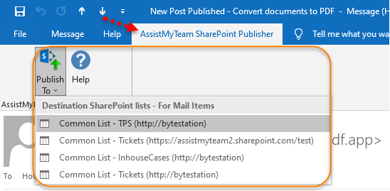 The publisher toolbar in inspector window of an email