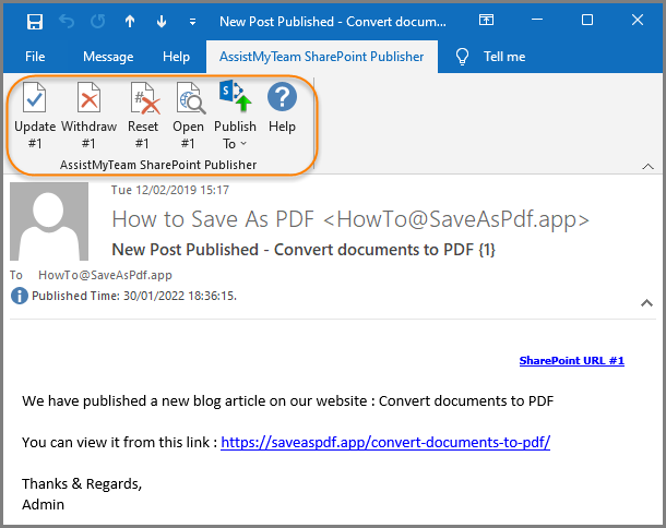 The publisher toolbar showing the additional buttons available on already published emails in Outlook